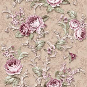 39718 Фиона розовые цветы на коричневом фоне